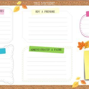 fiche organisation octobre - parent au quotidien